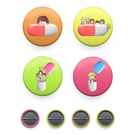 Kids with pills inside a pin  Vector design   Stock Vector - 17303228