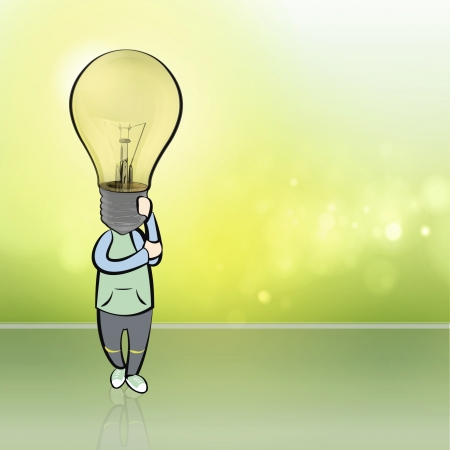 Boy with a lightbulb in his head  Vector illustration   Vector