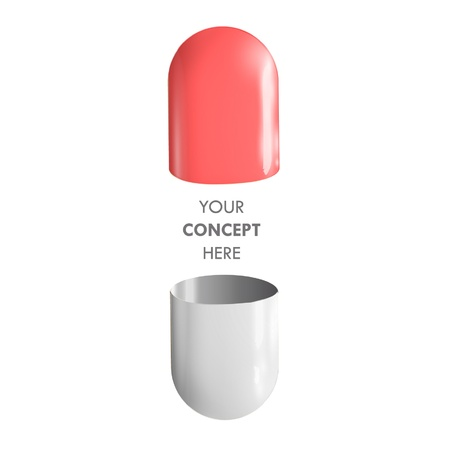 Red and white pill open for insert concept inside  Vector design Stock Vector - 17303130