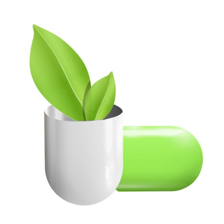 Pill whit ecologic leaf inside  Vector design   Illustration
