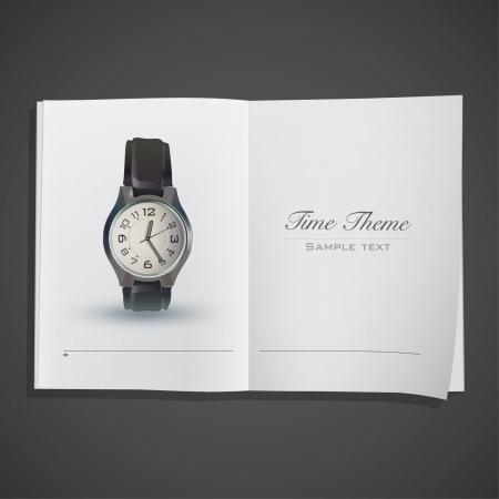 Realistic Clock inside a book  Vector design Stock Vector - 17303209