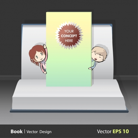 Children behind a wall inside a pop-up book  Vector illustration   Vector