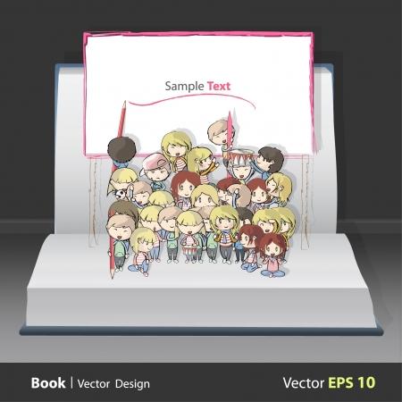 libro caricatura: Amigos escribiendo en una pancarta gigante en el interior de una ilustraci�n de fondo libro pop-up vector