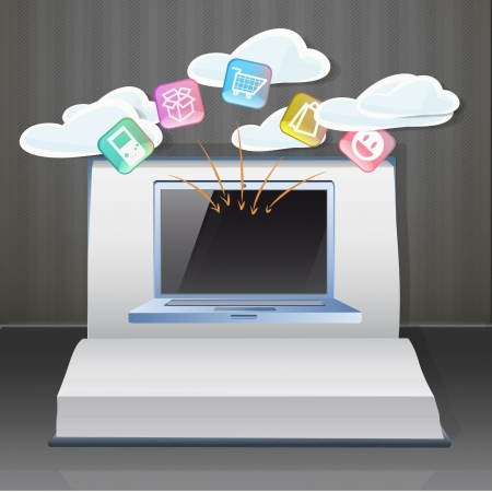 Modern laptop inside a Pop-Up book  Vector illustration Stock Vector - 17303232