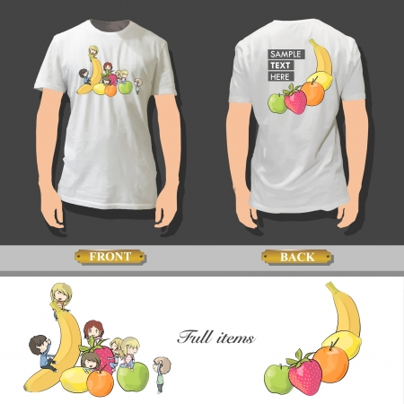 Many children between fruits printed on white shirt   design Stock Vector - 17344699