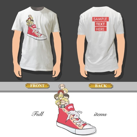 Red shoe with kids printed on white shirt   design Stock Vector - 17344703