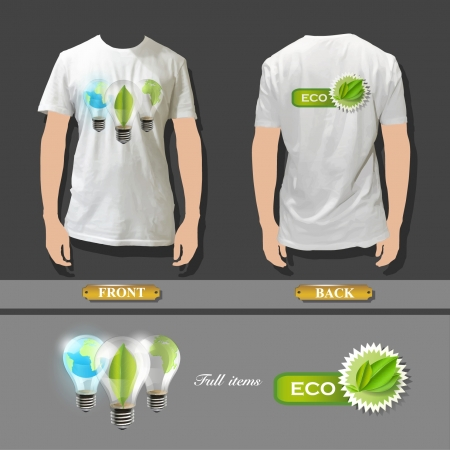 t bulb: Three ECO bulb inside a white shirt   illustration