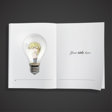 Young girl inside a bulb in a realistic book   design   Vector