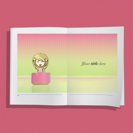 Blonde girl with big pink bag in a realistic book  Background illustration Stock Vector - 17344655