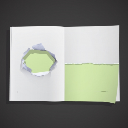 Big hole and break paper inside a book   background design   Vector