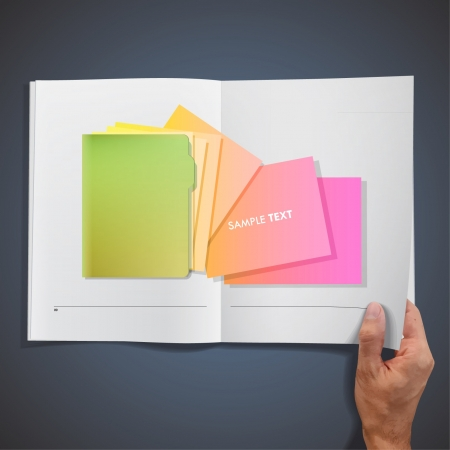 dossier: Green folder with colorful papers inside a book   design