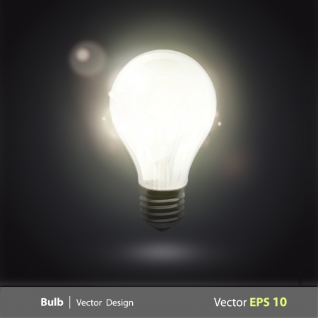 bulb light in the dark  Realistic vector design   Vector
