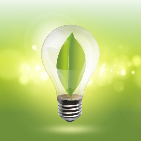 Bulb with a green sheet inside on a illumination background  Realistic vector design  Vector