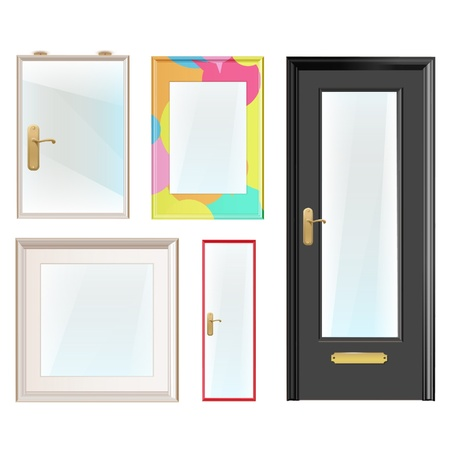 Realistic framework and doors with glass  Design   Vector