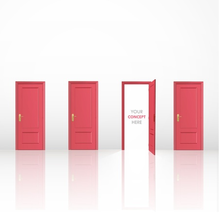 conceptual image: Four red doors, one open and the others closed  Vector design