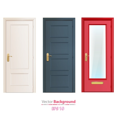 salir puerta: Colecci�n de puertas aisladas en blanco de dise�o vectorial
