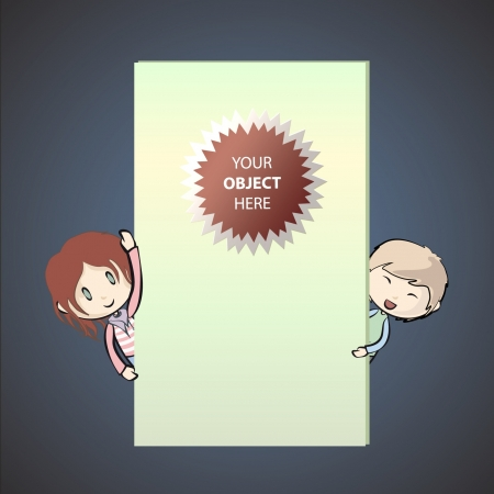 Children having a look behind a wall  Vector illustration   Stock Vector - 17344441