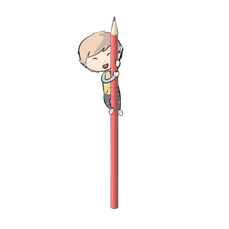 kid on a red pencil  Vector illustration  Stock Vector - 17330519