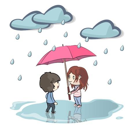 Children in the rain  Vector illustration