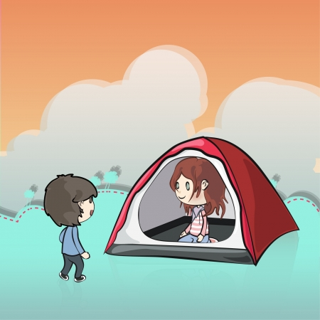 Couple camping  Vector illustration   Vector
