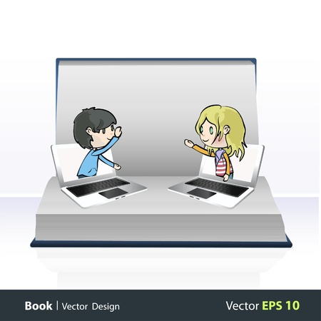 Two children communicating from computers inside a open Pop-up book   design Stock Vector - 17344355