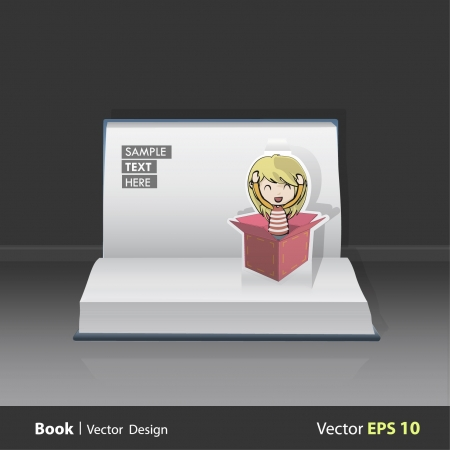 Open book with cute girl in pink box   design  Pop-Up Illustration   Vector