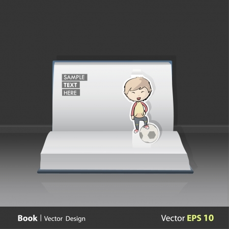 Open book with children playing football   design  Pop-Up Illustration   Vector