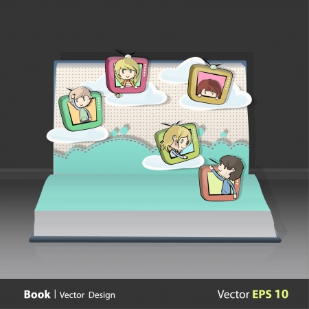 Children on television flying in a garden inside a open Pop-up book   design   Vector