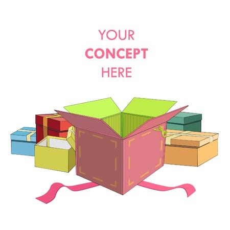 Gift box over white background   design Stock Vector - 17344283