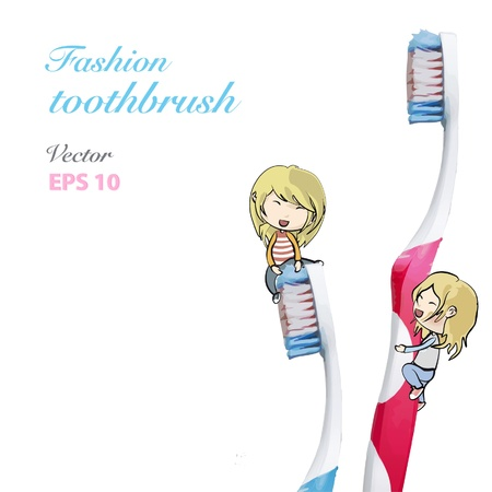 Kids holding two toothbrush  Isolated  background design   Vector