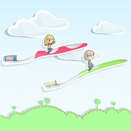 Two friends flying in toothbrush over a beautiful landscape   background design   Vector