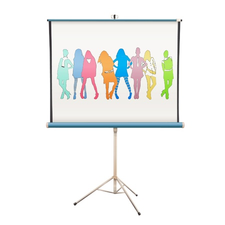 Colorful silhouette models in projector screen   design   Vector