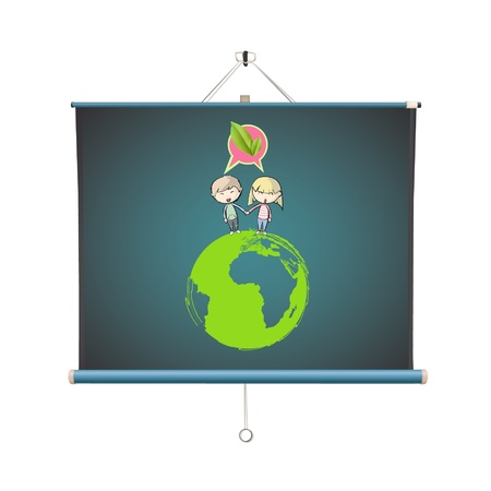 Many young friends around a icon of a planet in projector screen   design   Vector