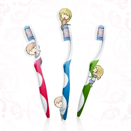 Friends playing with toothbrush  Isolated  background design   Illustration