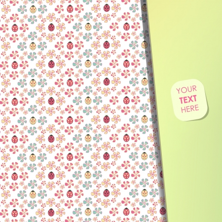 Background with flowers and ladybugs  Vector design   Vector