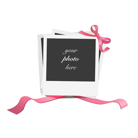 Empty photographs gifts with red ribbons   design   Vector