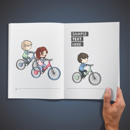 Group of children riding a bicycle inside a book  Vector design   Vector