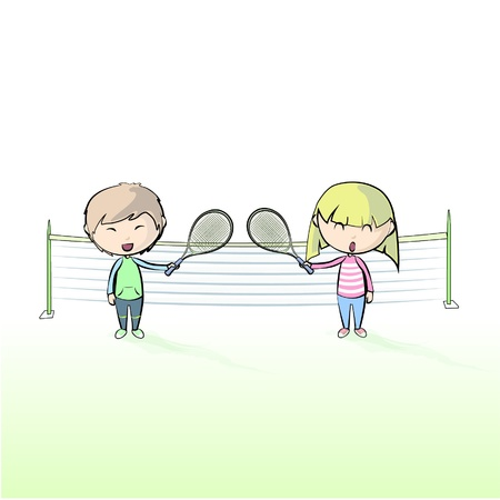 Enfants jouant conception de tennis