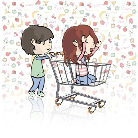 playing the market: Girl walking in a shopping cart   illustration   Illustration