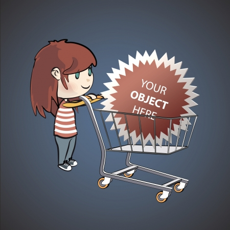 Girl shopping in the supermarket   illustration   Vector