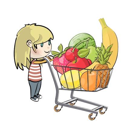 Chica rubia fruta compra en un supermercado ilustración