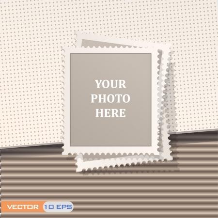 Blank Briefmarke auf der braune Wellpappe Textur-Design