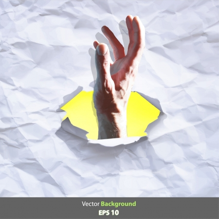 Hand on a hole paper background design Stock Vector - 17343416
