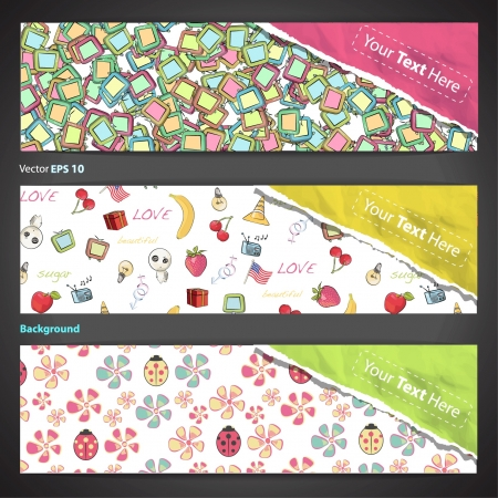Collection of banners with abstract cute elements design   Vector