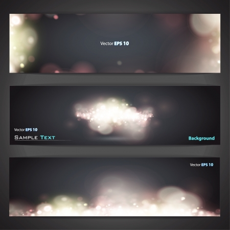pages template: Collection of banners with abstract lights   design   Illustration