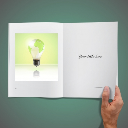 Open book with eco bulb inside   design   Vector