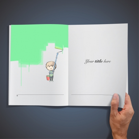 Open book with illustrations of kid painting the wall with a paintbrush   design   Illustration