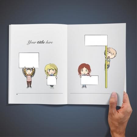 hand holding card: Open boek met kinderen houden plakkaat om tekst afbeelding invoegen