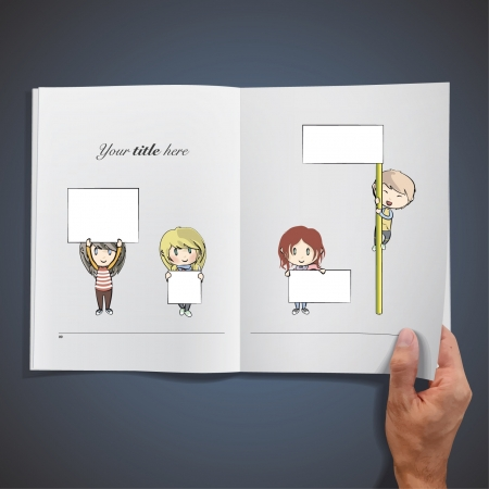 kids writing: Open book with kids holding placard to insert text   illustration   Illustration