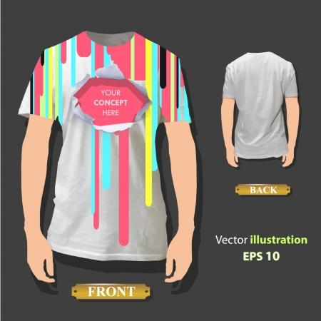 t shirt model: Foro variopinto su un disegno di sfondo vettoriale camicia